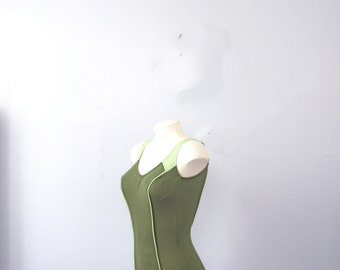 Vintage 50's army green retro swim suit, olive bathing suit, pin up swimsuit, size small / 4