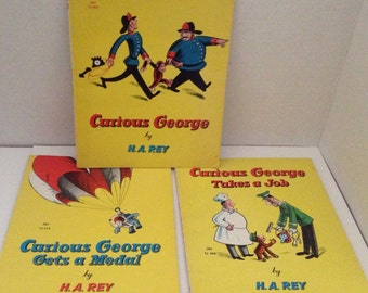 Curious George Book Lot of 3 Paperback Vintage Childrens Books by H A Rey Gets a Medal Takes a Job and Original