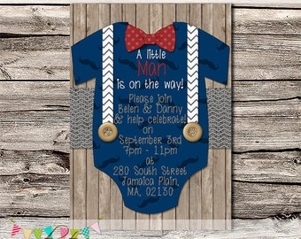 Little Man Shower Invitation or Birth Announcement - Baby Shower Invitation - Photo Invite - Printable - DIY - Digital File