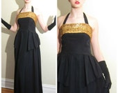 Vintage 1940s Evening Dress Black Gold / 40s Sleeveless Party Dress Taffeta and Sequins / Small g Dress with Asymmetric Wrap Detail / Medium