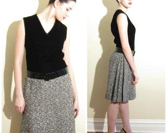 Vintage 1960s Black Velvet and Grey Tweed Mod Dress / 60s Sleeveless Drop Waist Dress by Wippette / Medium