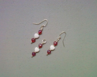Red and White Heart Pendant and Earrings (0859)