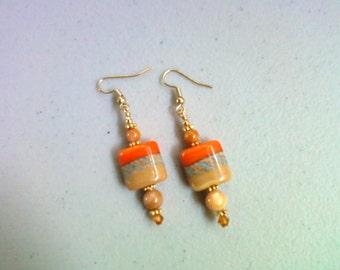 Orange, Tan, Gray and Gold Lampwork Bead Earrings (0120)