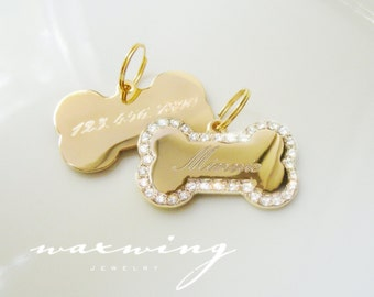 Bling Bone Pet ID Tag Gold Plated or Nickel Chrome Silver Custom Engraved for Your Pet Dog Personalized Size Medium