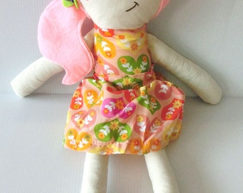 Amanda Doll Traditional Rag Doll Orange Floral Hearts Dress Pink Hair
