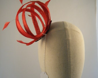 """Lovely red fascinator with red coque feathers """" Red Flame"""""""