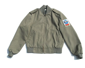 80s bomber zip up epaulettes zip up unisex hipster club kid kitsch coat indie mens  jacket - size small