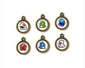 6pcs of Handcrafted Glass Charms, Bubble Bobble, G-043