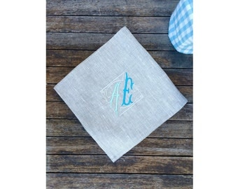 Teal Turquoise Aqua Monogram Linen Napkin Sets, 18 or 22 inch, Natural Gray Large Cloth Dinner Serviette,  Personalized Embroidered Wedding