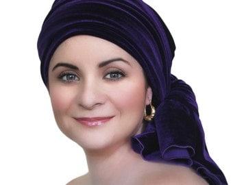 Purple Velvet Turban, Head Wrap, Chemo Hat, Alopecia Scarf, Hat & Scarf Set 505-02