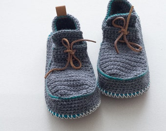 House Shoes Slippers with Leather Sole in dark grey with green turquoise trim - all adult shoe sizes US 4-12 EUR 35-46