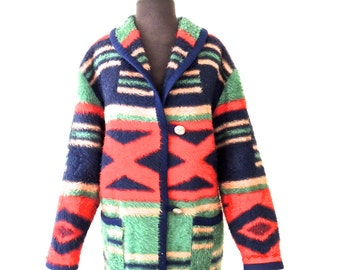 vintage southwestern jacket - early 90s Together-West woolly western jacket coat