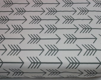 White and Gray Arrows Crib Sheet, White and Gray Changing Pad Cover