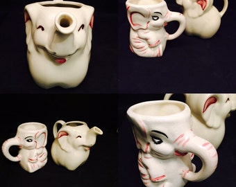 Ceramic Pottery Figural Elephants,  Creamer And Mug,  Childs Mug,  Shawnee Pitcher, Two Elephants, Collectibles