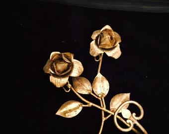 Vintage Gold Gilt Toleware,  Rose Towel Hook,  Hollywood Regency,  Florentine,  Gold Rose Robe Hook, Sconce, Key Hook, Coat Hook, Hat Hook