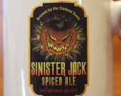 Sinister Jack Ceramic Beer Mug Stein Tankard Halloween Craft Beer Label Jack o Lantern on White 16 oz.