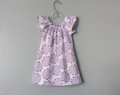 New! Girls Purple and White Flannel Dress - Purple & White Floral Dress - Flutter Sleeve Dress - Size 12m, 18m 2T, 3T, 4T, 5, 6 or 8