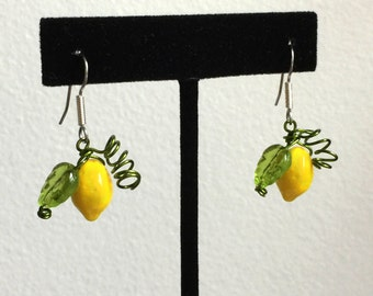 Lemon Earrings >> Summer Earrings, Limoncello Earrings, Italy Earrings, Fruit Earrings,  Kitschy Earrings, Theme Earrings, Seasonal Earrings