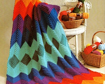 vintage crochet pattern single crochet ripple zig zag afghan blanket throw easy grandmother printable pdf download 1970 rainbow