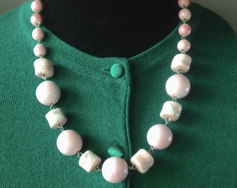 Powder Pink Ceramic GoGo Bubble Bobble and Tube Bead adjustable Necklace - Mid Century Modern - Vintage Inspired