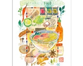 Kitchen art, Vietnamese Pho recipe print, Kitchen print, Watercolor food painting, Asian art, 8X10, Colorful kitchen decor, Kitchen wall art