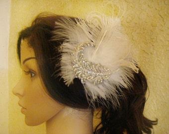 Flapper feather headpiece with rhinestones / 1920s gatsby rhinestone hair clip / wedding clip