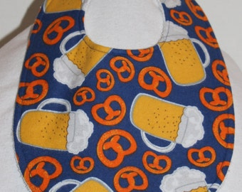 Pretzel and Beer Flannel / Terry Cloth Bib
