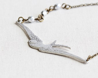 Silver Swallow Bird Pendant Necklace with Antiqued Brass Chain, Two Tone, Nature Jewelry
