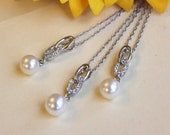 Infinity bridesmaids necklace with pearl drop, silver necklaces for bridal party, infinity symbol with crystal, set of 3