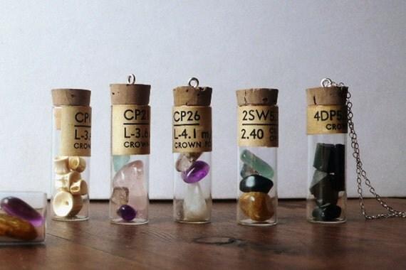 Crystals Talisman w authentic antique vial. Bespoke Custom (your choice of gems - amethyst, moonstone, rose quartz, citrine, labradorite...)