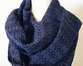 Handwoven Huck Lace Cotton Infinity Scarf - Blue