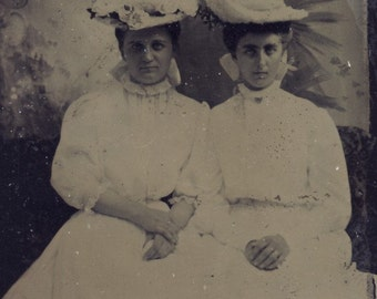 Beautiful White Victorian SPRING DRESSES with FLOWER Hats on Pretty Young Women Tintype Photo circa 1880