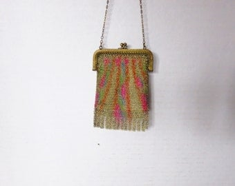 Vintage Painted Fine Mesh Fringed Finger Purse
