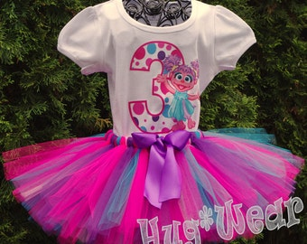 Abby Cadabby Birthday Shirt + Tutu Outfit (any age) Pinks purples and turq