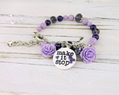 chronic pain bracelet, fibromyalgia awareness, purple awareness, purple ribbon charm, chronic pain awareness