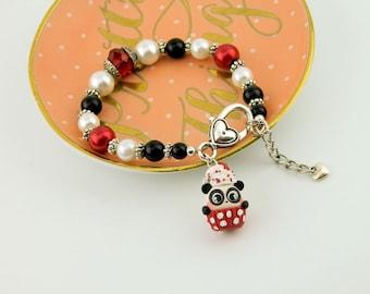 panda bear bracelet, panda cupcake, valentine's panda, Valentine's Day gifts, Valentine's bracelet, Valentine Jewelry, Be Mine