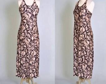 Vintage Maxi Dress 70s BOHO Nylon Floral Slinky Halter Nylon Maxi Dress Black and Nude M  L