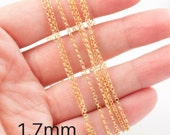 Unfinished vermeil chain by meter - gold plated sterling rolo chain 1.7mm - sterling silver chain plated with 24K gold