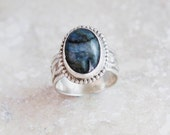 Labadorite Sterling Silver Wide Band Ring Size 6