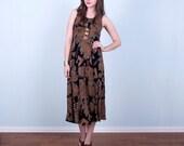 90's Midi Dress / Tribal Black Rayon Empire Waist Grunge All That Jazz / Small Medium