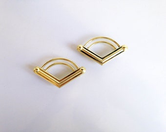 Pair Mid Century Gold V Drawer Pulls / Chevron