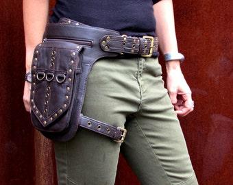 Leather Leg Holster Utility Belt Thigh Bag Burningman Steampunk  Festival Hip Belt Bag with Pockets Biker Bag in Brown HB31h*Free Shipping*