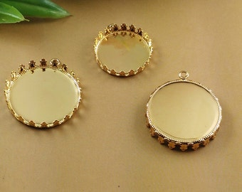 40 Pendant Trays- Brass Gold Plated Crown Edged 20mm/ 25mm Round Bezel Setting Cabochon Mountings Wholesale Jewelry Findings- Z7819