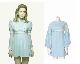 1960s Dress • 60s MINI Dress • Blue Day Dress • S / M • Small Medium