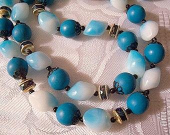 Turquoise Blue White Necklace Gold Vintage Decorative Black Accents