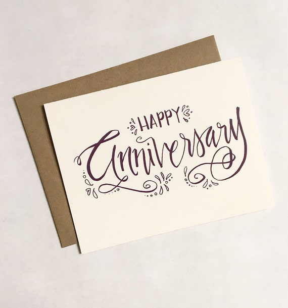 Sale happy anniversary greeting card calligraphy hand