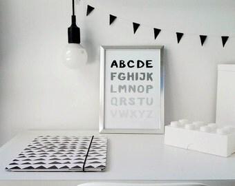 SALE: ABC Poster Monochrome Nursery / Kids Room Poster / Minimalist Poster / Dorm Decor / Typography Wall Art / Toddler Room / Birthday Gift