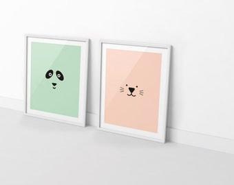 BOGO SALE: Boy and Girl Room / Kids Posters / Shared Kids Room / Kids Decor / Toddler Room / Children Poster / Nursery Decor / Pastel Print