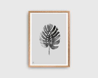 Tropical Poster | Monstera Leaf Print | Minimalist Poster | Tropic Wall Decor | Monochrome Poster | Scandinavian Style Home Decor | Wall Art