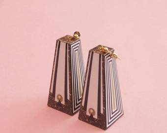 "Geometric Earrings // Art Deco Earrings // Marble Earrings // Mod Earrings // Op Art Earrings // Art Deco Earrings // The ""Hollywood"""